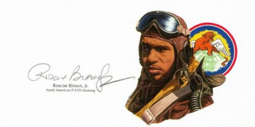 Roscoe Brown Signed Cut Signature WWII Tuskegee Airmen P-51 GOE Lithograph