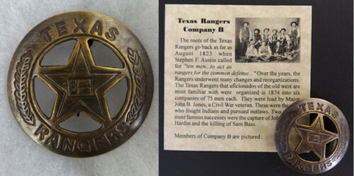 Texas Ranger Badge, Company B, boxed, Old West, Western, flag, antiqued brass