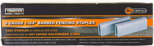 Freeman FS9G175 Pneumatic Barbed Fencing Staples 9Gauge Corrosion Rust Resistant