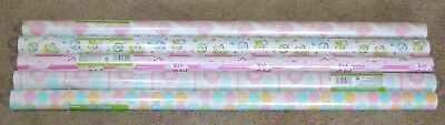 Lot of 5 Unique Gift Wrapping Paper Baby Shower Wrap Its a Girl Rolls Elephant - Baby Shower Wrapping Paper