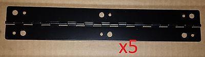 5 pc Black Powder Aluminum Piano Hinge 11-1/2 x 2 HOLE Continuous Door/Cabinet