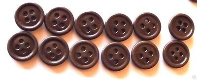 WWII US chocolate brown Shirt buttons 5/8in  16mm 24L Lot of 12 B007