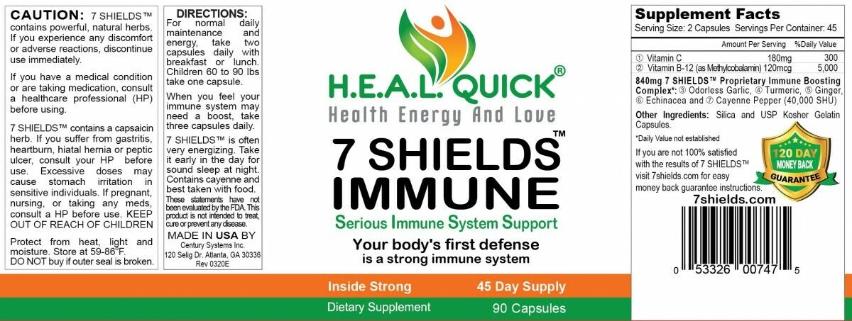 "7 SHIELDS ""Immune System Booster"" with ""Vitamin C"" and ""Ginger"" 90 Capsules 3"