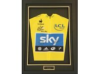 TOUR DE FRANCE SIGNED YELLOW JERSEY FRAMED WIGGO FROOME