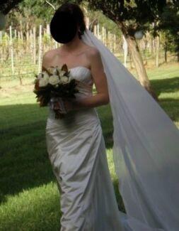Designer Silk Strapless Wedding Dress With Veil & Facinator