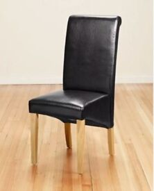 8 Black High Scroll Back Leather Chairs FREE DELIVERY 175