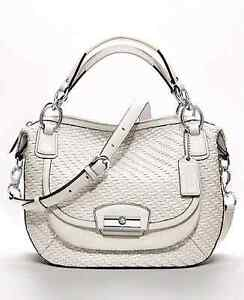 Coach round woven ivory satchel crossbody large handbag purse ba Belleville Belleville Area image 2
