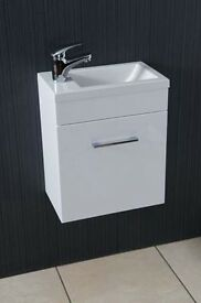 Stylish Bathroom Furniture, White Gloss 40cm wide Cloakroom Vanity Unit with Slimline Lever Tap