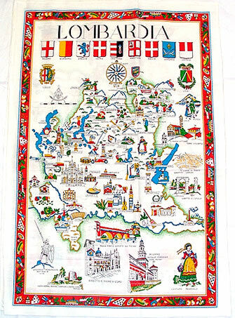 Lombardia, Italy Souvenir Linen Tea Towel - Kitchen Towel, Made in Italy