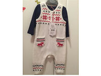 Mothercare Baby Boys knitted all on one 2 piece 0-3 & 3-6 months