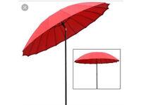 BRAND NEW IN BOX RRP £69.00 RED TILTING PARASOL 2.5m Garden Umbrella Summer Unwanted
