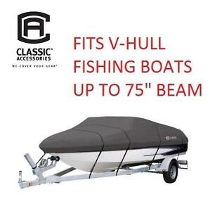 """NEW CLASSIC ACCESSORIES BOAT COVER STORMPRO 14' - 16' HEAVY DUTY BOAT COVER - V-HULL FISHING BOATS UP TO 75"""" BEAM"""