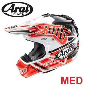 NEW ARAI MOTORCYCLE HELMET MED - 115909199 - ADULT MEDIUM - VX-PRO4 IN SHOOTING RED BLUE  PROTECTIVE GEAR