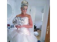 wedding dress, by Sophia Tolli,inc Veil, size 14 in Champagne. ex Condition, cost £2000, £400 ono.