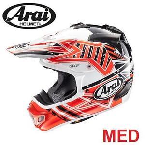 NEW ARAI MOTORCYCLE HELMET MED - 115909199 - ADULT MEDIUM - VX-PRO4 IN SHOOTING RED BLUE  PROTECTIVE GEAR