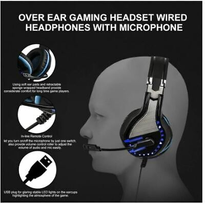 HS063 LED Gaming Headset Headphone with Microphone For PS4 PC Laptop Xbox B1X7