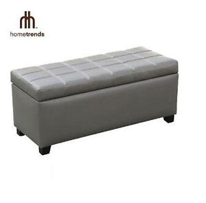 """NEW HOMETRENDS STORAGE BENCH OTTOMAN - GREY- 18"""" W x 39.75"""" D x 22.25"""" H - FURNITURE HOME LIVING ROOM 100981461"""