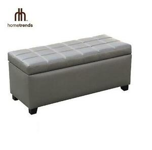 """NEW HOMETRENDS STORAGE BENCH OTTOMAN GREY 18"""" W x 39.75"""" D x 22.25"""" H - FURNITURE HOME LIVING ROOM 105948561"""