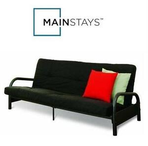 "NEW MAINSTAYS METAL ARM 6"" MATTRESS FUTON - 105934621 - BLACK - METAL ARM FUTON WITH 6"" MATTRESS"