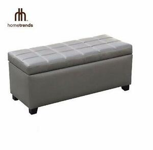 "NEW* HOMETRENDS STORAGE BENCH OTTOMAN - GREY- 18"" W x 39.75"" D x 22.25"" H - FURNITURE HOME LIVING ROOM 95997448"