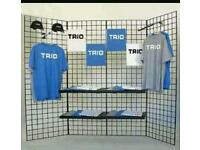 5 LARGE WALL DISPLAY GRIDS AND ALL ATTACHMENTS/HOOKS RETAIL/SHOP DISPLAY