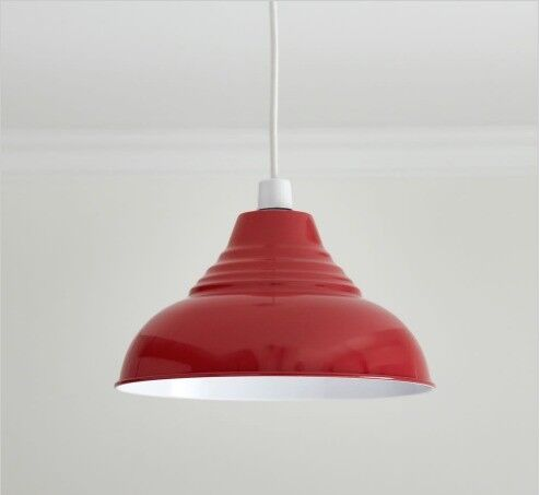2 x red and white vintage pendant ceiling lamp shade wilko