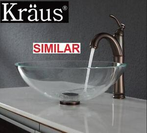 NEW* KRAUS GLASS VESSEL SINK SET Crystal Clear Glass Vessel Sink and Riviera Faucet - Bathroom Fixtures 107437707