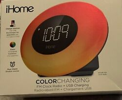 iHome iM30SC Color Changing Alarm Clock with FM Radio & USB Charging