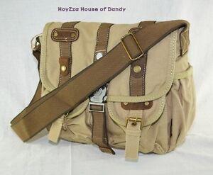 Canvas-Vintage-Look-Casual-style-Medium-Size-Shoulder-Messenger-Bag-B3116-Khaki