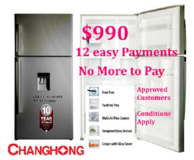 New 520L Frost Free Changhong Stainless Steel 2 Door Fridge