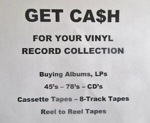VINYL RECORDS LPs - 45s - 78s TOP PRICES PAID CA$H