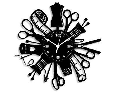 Reloj de Pared Máquina de Costura Coser Bordar Accesorios Idea de Regalo...