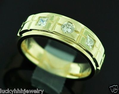 14k Solid Yellow Gold 3 Stone 0.57 Ct Men