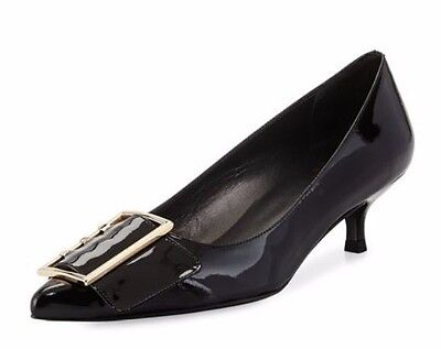 - Stuart Weitzman Women's Triplespare Patent Leather Low-Heel Black Pump Size 8.5