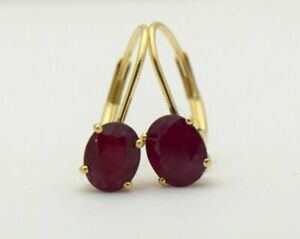 6x4mm Genuine Red Ruby Earrings Yellow Gold 14KT