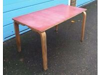 Mid Century Esavian school table desk red top /Retro Vintage Scandanavian Children's Furniture