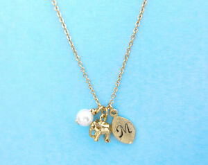 Personalized, Letter, Initial, Pearl, Elephant, Gift, Necklace