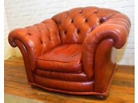 Chesterfield oxblood armchair vintage chairs leather antique lounge club tub vintage seating red