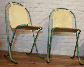 10 available Sebel Stak a Bye industrial metal chairs vintage stacking retro kitchen garden
