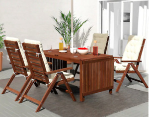 Wood outdoor dining table with 4 chairs
