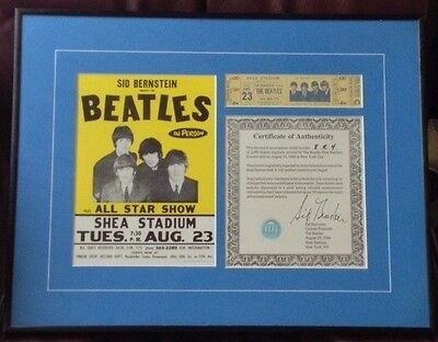The BEATLES 1966 Shea Stadium UNUSED Concert Ticket w/ Sid Bernstein Signed COA on Rummage