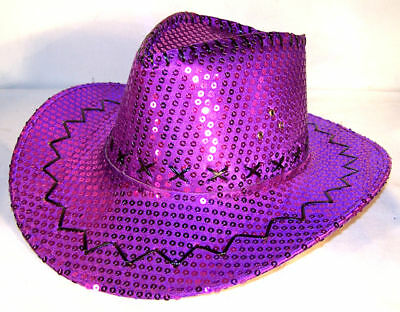 SEQUIN PURPLE COWBOY HAT western costume mens ladies pageant hats caps head wear