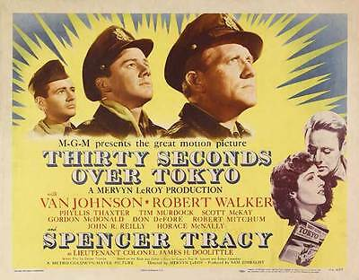THIRTY SECONDS OVER TOKYO Movie POSTER 22x28 Half Sheet Spencer Tracy Van