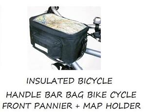 Insulated Bicycle Handlebar Bag Bike Cycle Front Pannier Including Map Holder