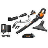 WG545.1 20V Max Lithium Blower/Sweeper with 8  Attachments by Worx