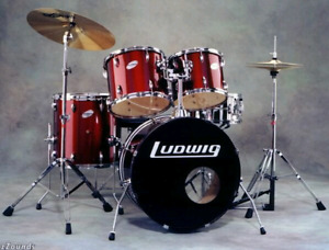 Drum batterie ludwig rouge 3 cymbales pedales stand deal