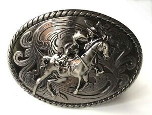 Cow Boy Rodeo Horse Rider Belt Buckle-Solid-Bull Fighter-Western Accessories