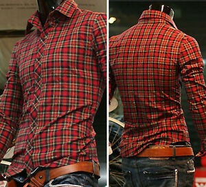 Mens-Casual-Tops-Slim-Fit-Shirts-Long-Sleeve-Polo-Plaid-T-Shirt-4-Size-S-M-L-XL