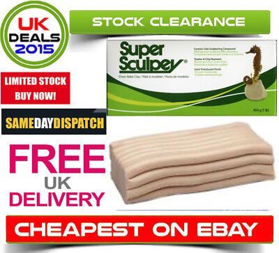 SUPER SCULPEY POLYMER CLAY Original Beige 1lb 454g  FRESH STOCK - FREE DELIVERY