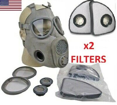 Full Face New Military M10 Nbc Gas Mask Respirator W Extra Set X2 Filters Free
